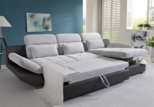 Wohnlandschaft eternity sofa wei hell grau schwarz rechts for Ecksofa eternity