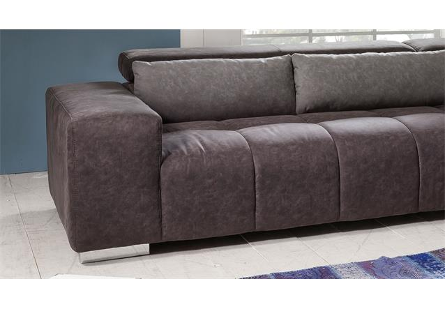 ecksofa aksis in microfaser braun inkl kissen grau und nosagfederung 308x225 cm ebay. Black Bedroom Furniture Sets. Home Design Ideas