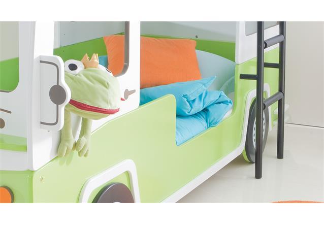etagenbett bussy autobus hochbett kinderbett mdf wei gr n lackiert mit rollrost ebay. Black Bedroom Furniture Sets. Home Design Ideas