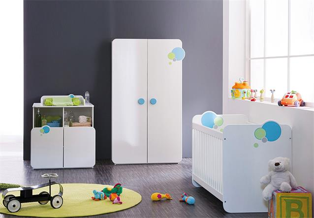 babyzimmer bulles kinderzimmer schrank bett wei blau gr n mit motiv. Black Bedroom Furniture Sets. Home Design Ideas