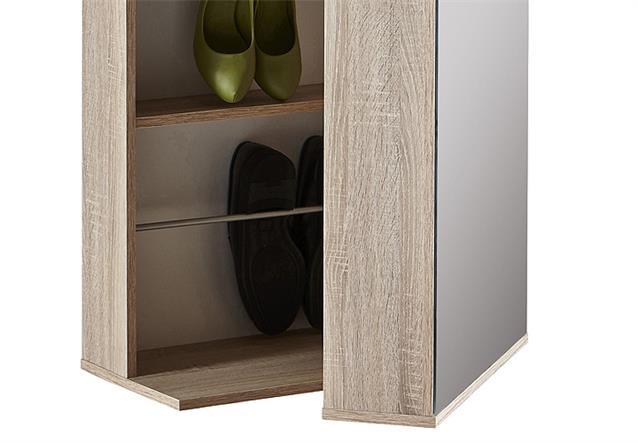 schuhschrank ballerina garderobenschrank schrank in sonoma eiche mit spiegel ebay. Black Bedroom Furniture Sets. Home Design Ideas