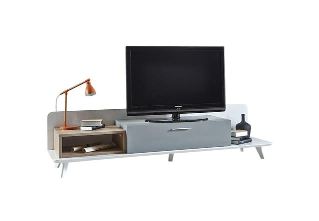 tv board block unterschrank lowboard in eiche aragon wei perl bielefeld. Black Bedroom Furniture Sets. Home Design Ideas