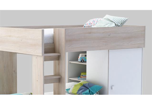 etagenbett treno bett hochbett mit kleiderschrank in wei. Black Bedroom Furniture Sets. Home Design Ideas