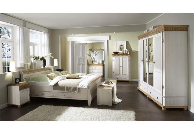 bett malta doppelbett in kiefer massiv wei und antik 160x200 mit schubkasten ebay. Black Bedroom Furniture Sets. Home Design Ideas