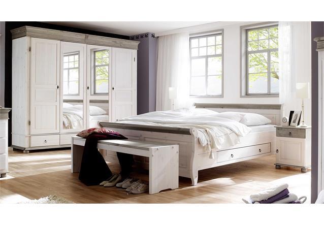 Schlafzimmer oslo 4 tlg set kiefer massiv wei lava 4 trg schrank bett 180x200cm ebay - Schlafzimmer oslo ...