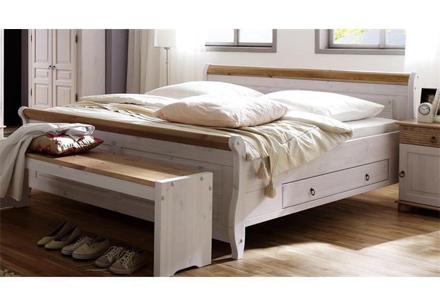 schlafzimmer oslo 4 tlg set kiefer massiv wei antik 3 trg schrank bett 180x200 ebay. Black Bedroom Furniture Sets. Home Design Ideas