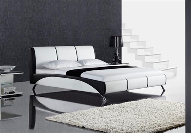 polsterbett fun doppelbett 180x200 wei schwarz mit kopfteil design bett ebay. Black Bedroom Furniture Sets. Home Design Ideas