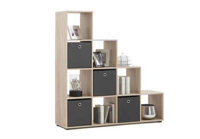 raumteiler mega stufenregal b cherregal 10 oder 16 f cher faltboxen anthrazit ebay. Black Bedroom Furniture Sets. Home Design Ideas