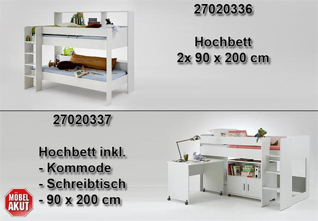 hochbett kombi emilio 2 etagenbett bett schreibtisch kommode in wei 90x200 cm. Black Bedroom Furniture Sets. Home Design Ideas