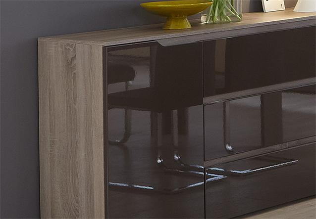 sideboard diva kommode anrichte in sonoma eiche s gerau dunkel braun hochglanz ebay. Black Bedroom Furniture Sets. Home Design Ideas