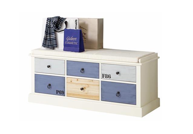 garderobenbank sylt sitzbank in mdf wei bunt lackiert. Black Bedroom Furniture Sets. Home Design Ideas
