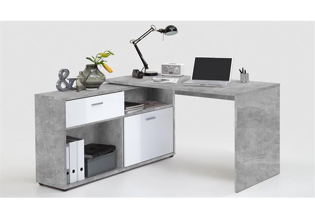winkelschreibtisch diego b rotisch mit regal in beton optik und wei hochglanz ebay. Black Bedroom Furniture Sets. Home Design Ideas