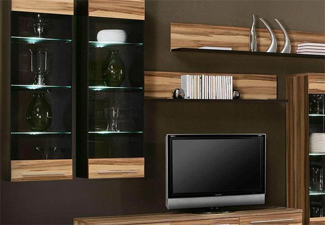 wohnwand savoy anbauwand wohnzimmer baltimore walnuss und braun inkl led ebay. Black Bedroom Furniture Sets. Home Design Ideas