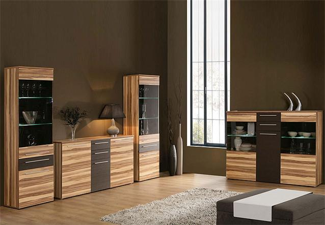 wohnkombi savoy anbauwand wohnwand baltimore walnuss und braun inkl led ebay. Black Bedroom Furniture Sets. Home Design Ideas