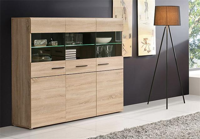 highboard combino sideboard buffet vitrine sonoma denver eiche wenge led ebay. Black Bedroom Furniture Sets. Home Design Ideas
