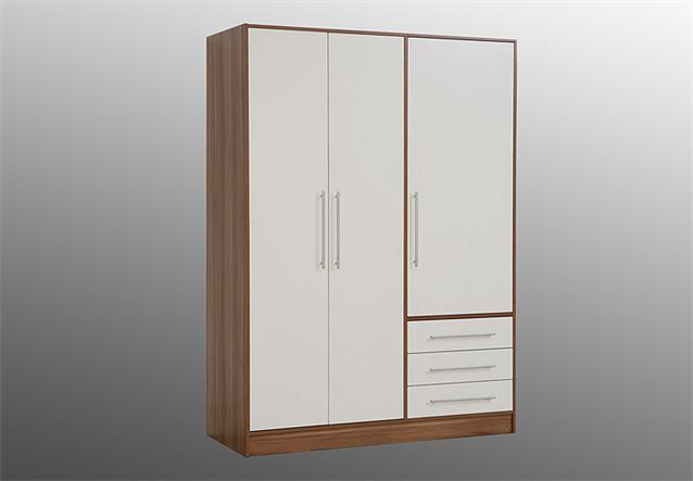 kleiderschrank jupiter dreht renschrank schrank in walnuss und wei 144 cm ebay. Black Bedroom Furniture Sets. Home Design Ideas