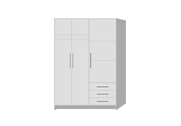 kleiderschrank jupiter dreht renschrank schrank in wei mit 3 schubk sten 145 cm ebay. Black Bedroom Furniture Sets. Home Design Ideas