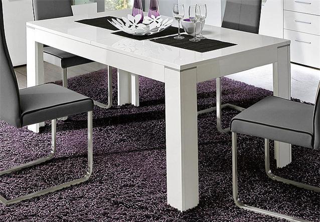 esstisch kando tisch ausziehbar wei hochglanz 160 200x90 cm. Black Bedroom Furniture Sets. Home Design Ideas