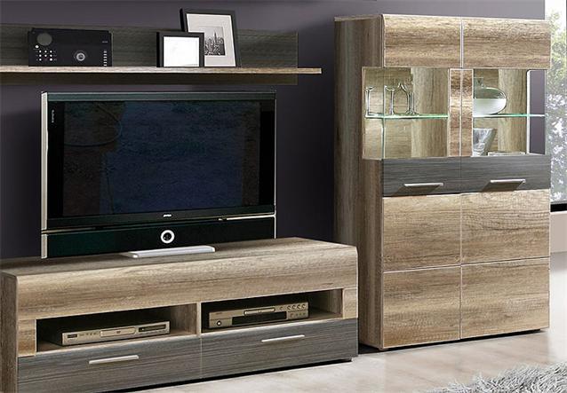 wohnwand ii nabou anbauwand eiche antik touchwood braun ebay. Black Bedroom Furniture Sets. Home Design Ideas