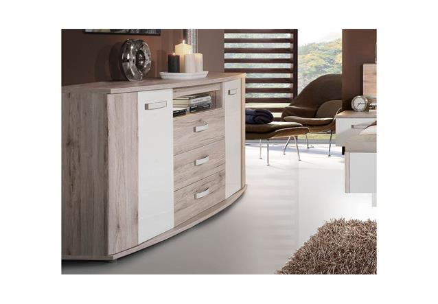 sideboard rondino anrichte in sandeiche und wei hochglanz inkl led beleuchtung ebay. Black Bedroom Furniture Sets. Home Design Ideas
