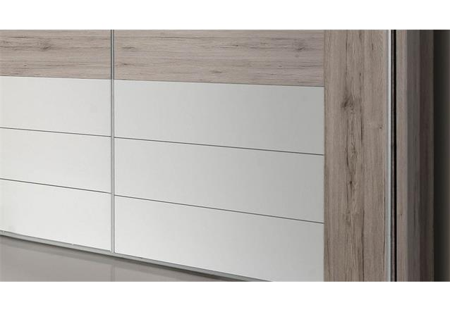 schwebet renschrank rondino schrank in sandeiche wei hochglanz inkl led 270 cm ebay. Black Bedroom Furniture Sets. Home Design Ideas