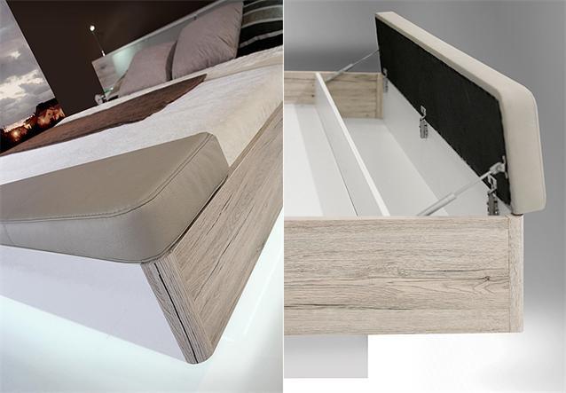 schlafzimmerset rondino bett kleiderschrank sandeiche wei hochglanz inkl led ebay. Black Bedroom Furniture Sets. Home Design Ideas