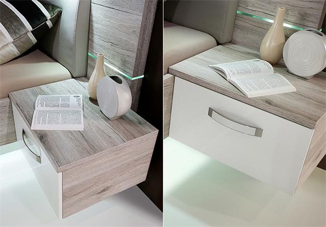 bettanlage rondino bett nachtkommode sandeiche wei hochglanz mit led ebay. Black Bedroom Furniture Sets. Home Design Ideas