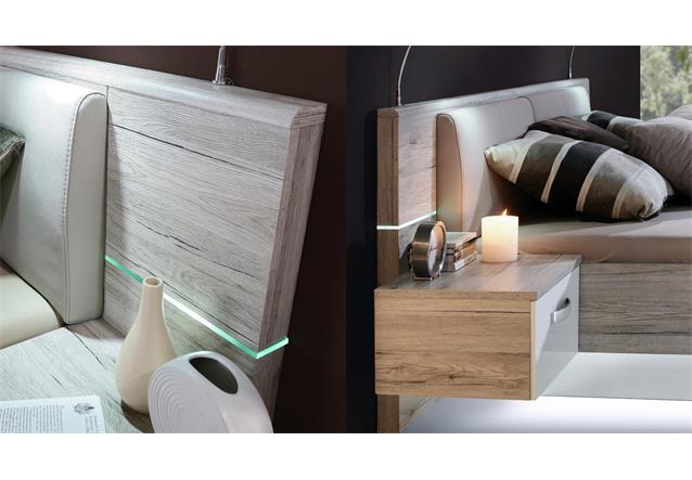 bettanlage rondino futonbett in sandeiche und wei hochglanz mit led 180x200 cm ebay. Black Bedroom Furniture Sets. Home Design Ideas