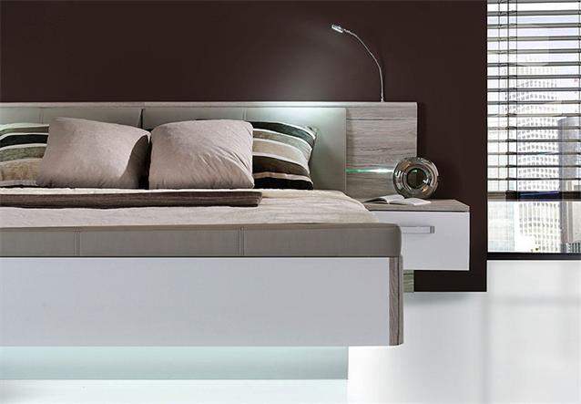 bettanlage rondino bett nachtkommode sandeiche wei hochglanz inkl led ebay. Black Bedroom Furniture Sets. Home Design Ideas