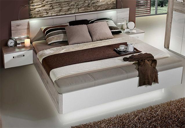 schlafzimmerset ii rondino bett kleiderschrank sandeiche und wei hochglanz ebay. Black Bedroom Furniture Sets. Home Design Ideas