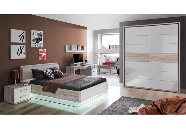 jugendzimmer rondino komplett set kinderzimmer in sandeiche und wei hochglanz. Black Bedroom Furniture Sets. Home Design Ideas
