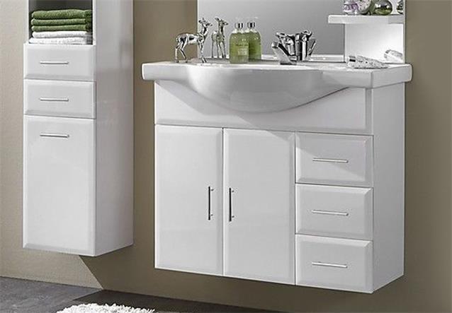 badblock wien 2 komplettbad schrank keramikbecken spiegel wei inkl beleuchtung ebay. Black Bedroom Furniture Sets. Home Design Ideas