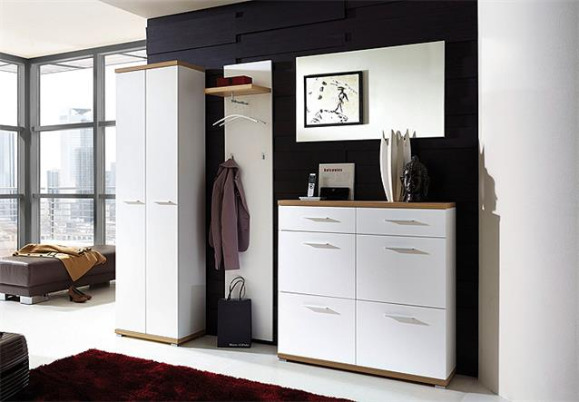schuhschrank 2 top schuhkommode schuhregal in wei sonoma eiche 16 paar germania ebay. Black Bedroom Furniture Sets. Home Design Ideas