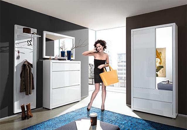 garderobenpaneel fino paneel wandgarderobe wei hochglanz lack germania ebay. Black Bedroom Furniture Sets. Home Design Ideas