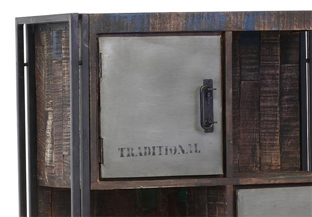 highboard titan kommode sideboard metall antikfarben mango massiv ebay. Black Bedroom Furniture Sets. Home Design Ideas