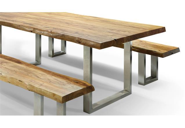esstischgruppe madras massivholz esstisch und 2 b nke akazie mit baumkante ebay. Black Bedroom Furniture Sets. Home Design Ideas