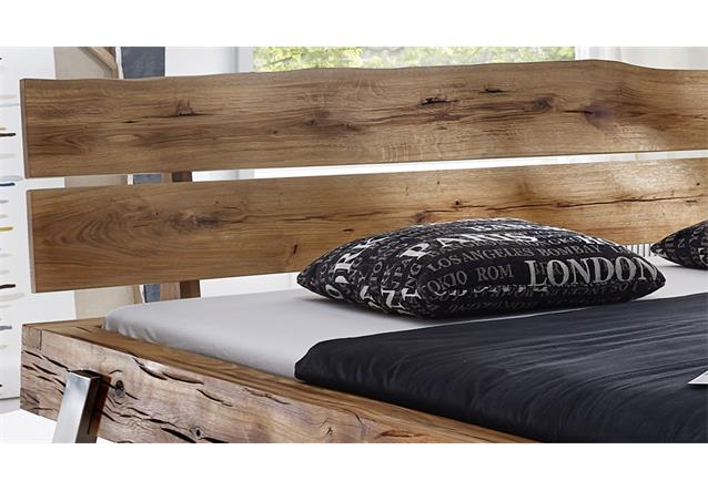 balkenbett doppelbett aus wildeiche massivholz 180x200 edelstahl bett be 0276 ebay. Black Bedroom Furniture Sets. Home Design Ideas