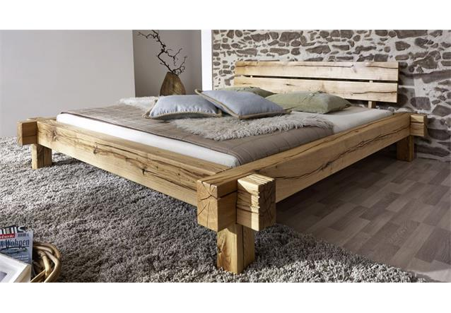 balkenbett jonas doppelbett aus wildeiche massivholz 180x200 ebay. Black Bedroom Furniture Sets. Home Design Ideas