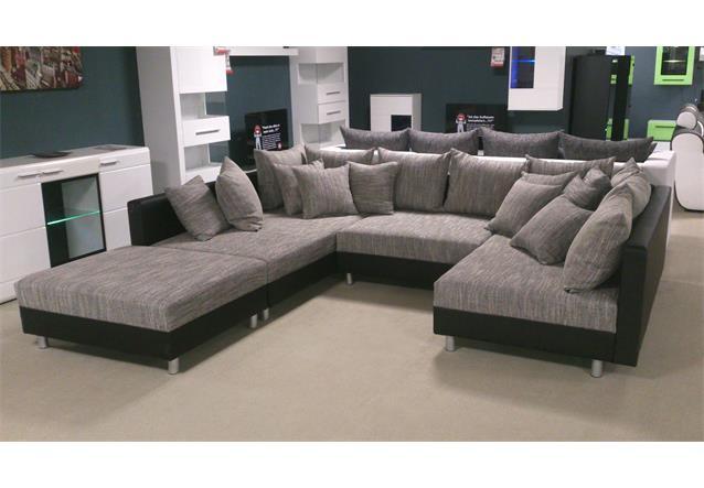 Wohnlandschaft claudia xxl ecksofa couch sofa mit hocker for Wohnlandschaft junges wohnen