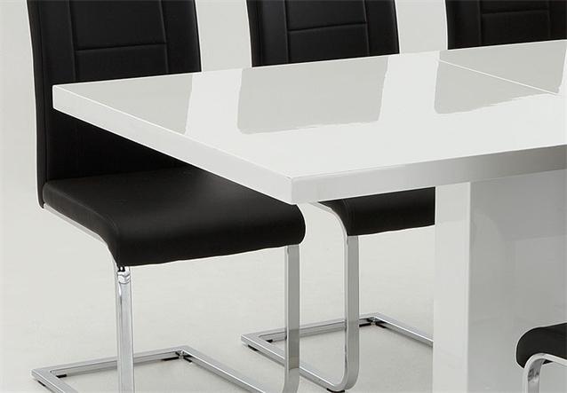 tisch und stuhlset iris josy esstisch wei hochglanz lack und stuhl in schwarz ebay. Black Bedroom Furniture Sets. Home Design Ideas