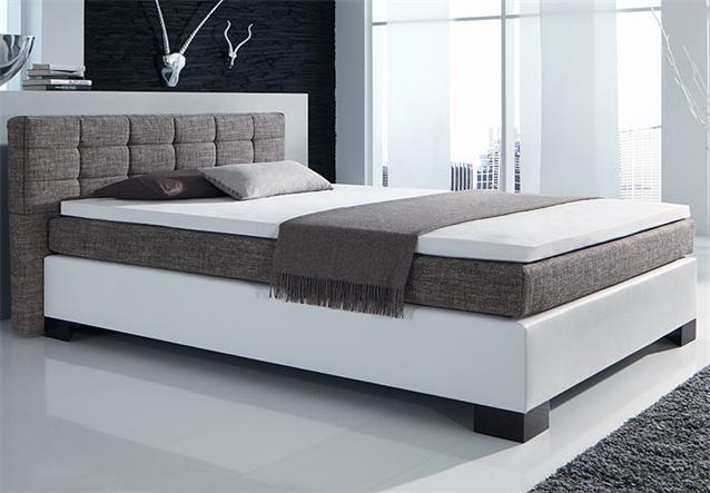 boxspringbett haiko bett lederlook wei stoff braun. Black Bedroom Furniture Sets. Home Design Ideas