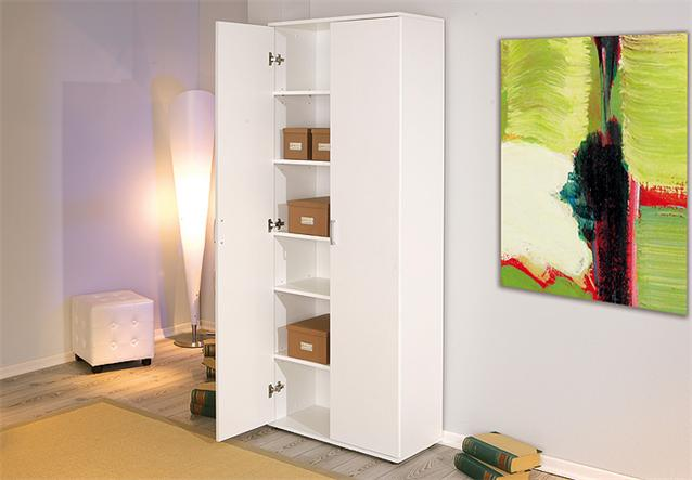 mehrzweckschrank schrank b roschrank in wei mit 2 t ren und 5 einlegeb den ebay. Black Bedroom Furniture Sets. Home Design Ideas