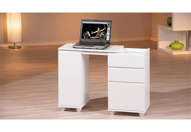 schreibtisch laptop office computertisch ausziehbar wei lackiert ebay. Black Bedroom Furniture Sets. Home Design Ideas