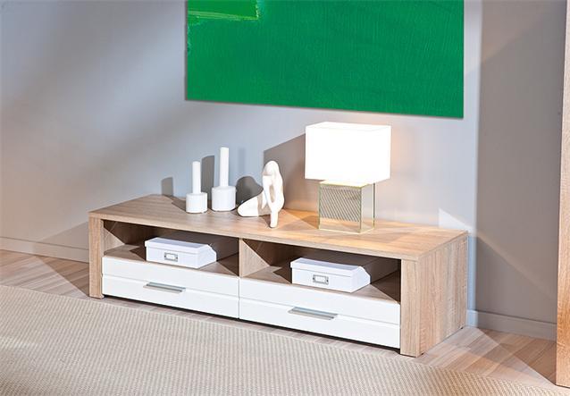 tv board absoluto lowboard unterschrank sonoma eiche wei hochglanz ebay. Black Bedroom Furniture Sets. Home Design Ideas