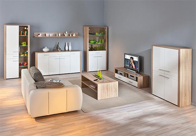 highboard absoluto buffet schrank sonoma eiche wei. Black Bedroom Furniture Sets. Home Design Ideas