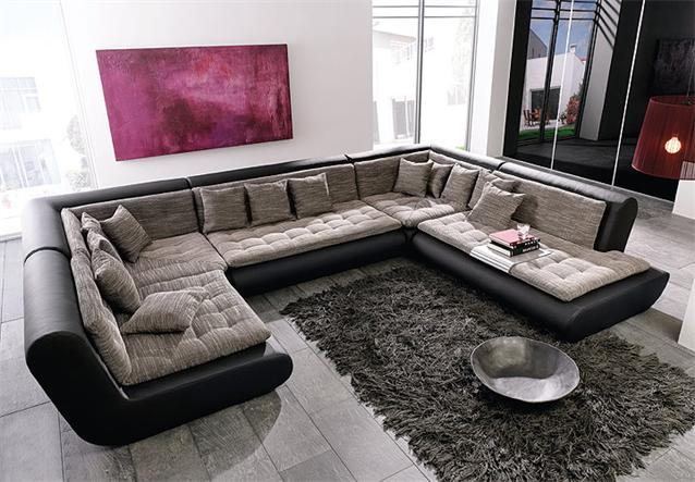 wohnlandschaft club sofa in schwarz mit webstoff ebay. Black Bedroom Furniture Sets. Home Design Ideas