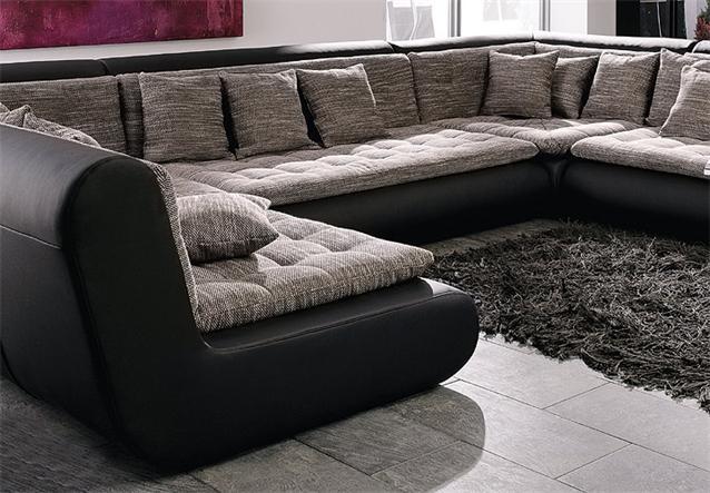 wohnlandschaft club sofa in schwarz mit webstoff ebay. Black Bedroom Furniture Sets. Home Design Ideas
