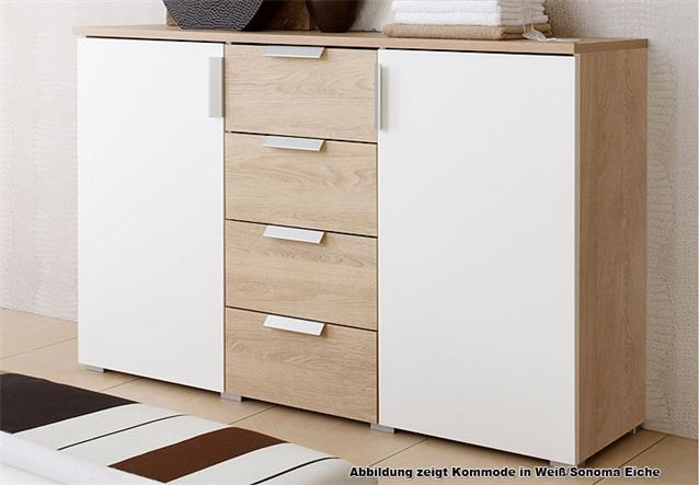 kommode eco sideboard in wei und sonoma eiche tr ffel ebay. Black Bedroom Furniture Sets. Home Design Ideas