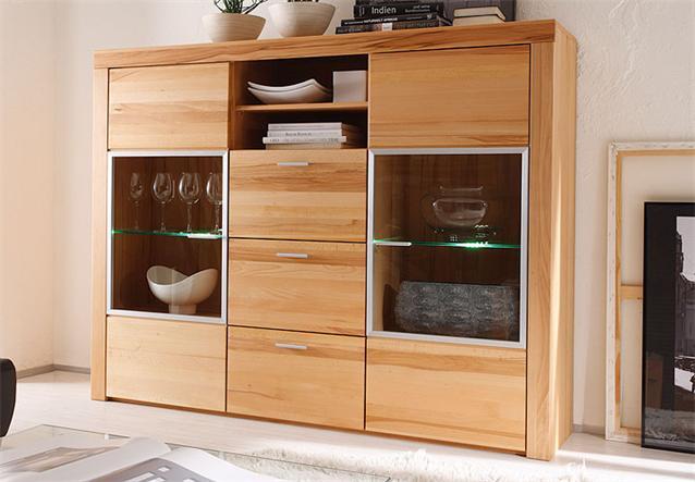 highboard samira 2 t rige vitrine in kernbuche furniert teilmassiv 174 cm breit ebay. Black Bedroom Furniture Sets. Home Design Ideas