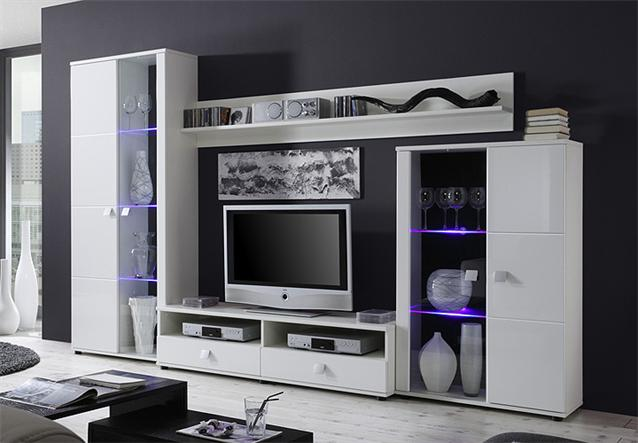 wohnwand sideboard natura anbauwand kommode in wei hochglanz led neu ebay. Black Bedroom Furniture Sets. Home Design Ideas